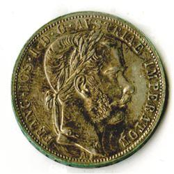 Austria-Hungary, 1866 A,1 Florin, Silver, KM#2220, XF-AU Condition.