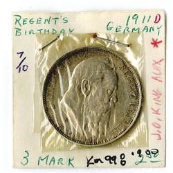 German States, Bavaria, 1911D, 3 Mark, KM# 998, Silver, XF cleaned.