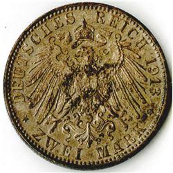 German States, Hamburg, 1913J, 2 Mark, KM# 612, Silver, AU to Choice AU.