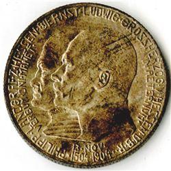German States, Hesse-Darmstadt, 1904, 2 Mark, KM# 372, Silver, AU to Choice AU.
