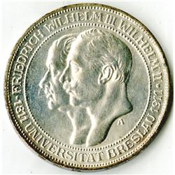German States, Prussia, 1911A, 3 Mark, KM# 531, Silver, AU to Uncirculated.