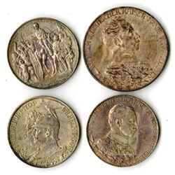 German States, Prussia, Lot of 4 Silver Coins, Prussia, 1901A, 2 Mark, KM# 525; 1913A, 2 Mark, KM#53