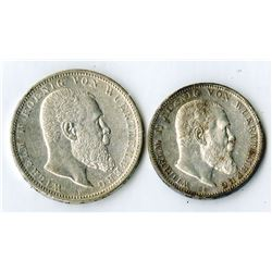 German States, Wuerttemberg, Lot of 2 coins, 1912, 3 Mark, KM# 635 and 1907, 5 Mark, KM# 632, Silver