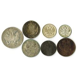 Group of Austrian and Russian Coins, ca. 1776-1915