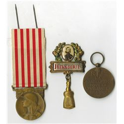 French World War I Medal Trio, ca.1914-1918.