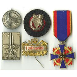 German World War 1 to WW II Era Medal Quintet