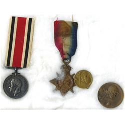 French and English WWI Military Medal Quartet, 1916-20