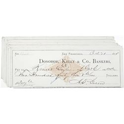 Donohoe, Kelly & Company, Bankers, 1876-1878 I/C Check Group of 32, All with I.R. RN-G1