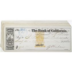 North Pacific Transportation Company - Bank of California, 1869-1871 I/C Check Group of 15 All with