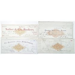 California and Nevada, 1871-1883 I/C Check Group of 12 with Various Imprinted Revenues.