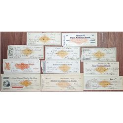 Connecticut, New York & New Jersey Revenue Imprinted Group of 25 I/C Checks, ca.1870-1918.