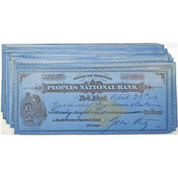 Peoples National Bank, 1882-1883 I/C Check Group of 43 with IR RN-G1.