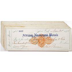 Irving National Bank, 1873-1874 Imprinted Revenue RN-D Group of I/C Checks
