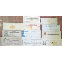 Pennsylvania Check Assortment, ca.1864 to 1909 Checks, Some with Imprinted Revenues.