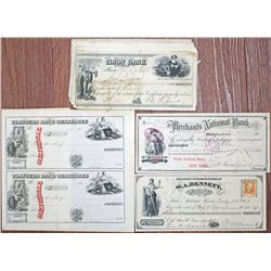 Security Printer ca.181860-1870 Issued and Unissued Check Group of 24