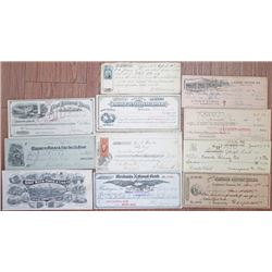Check and Blotter Group of 11, ca.1866-1956