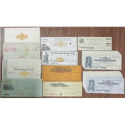 Large Group of Bank Checks & Drafts, ca. 1870 to 1900 With and Without Imprinted Revenues