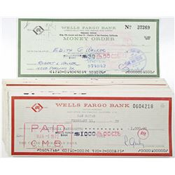 Wells Fargo Bank, 1964-72 I/C Check and Money Order Group of 24, All with foreign Revenue Stamps on