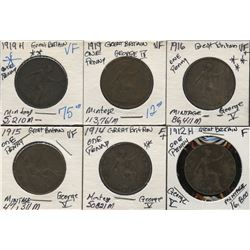 Great Britain - Lot of 6 George IV & V Pennies