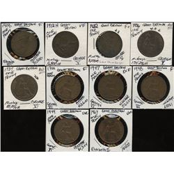 Great Britain - Lot of 10 Edward & Elizabeth Pennies