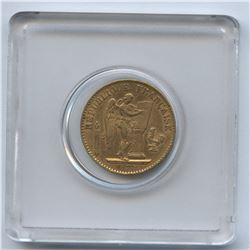 France , 1877 Gold 20 Francs Coin