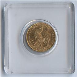 France , 1908 Gold 20 Francs Coin