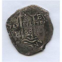 8 Real 1668 Carlos ll, Large silver cob. Potosi