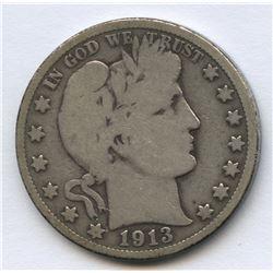 USA 1913 Barber Half Dollar
