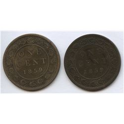1859 One Cents 9/8 Varieties - Lot of 2
