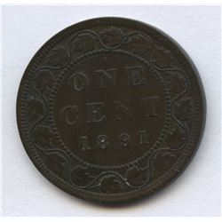 1891 One Cent - Small Date, Large Leaves