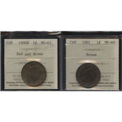 1900H & 1901 One Cents - ICCS Graded Lot of 2