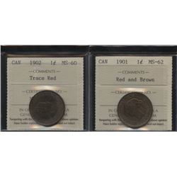 1901 & 1902 One Cents - ICCS Graded Lot of 2