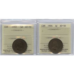 Edward VII One Cent ICCS Group - Lot of 2