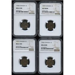 1928, 1929, 1932, 1936 NGC Graded One Cent Lot of 4