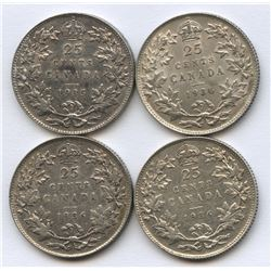 1936 regular, dot and bar 25 cents, and 1935 25 cents