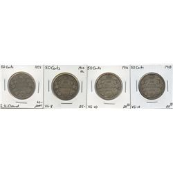 1871 - 1918 Fifty Cents Group - Lot of 4