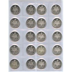 Canada Original Lustrous Silver Fifty Cents - Lot of 20 Coins