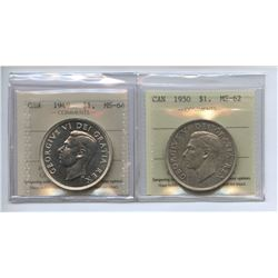 George VI Silver Dollar ICCS Group - Lot of 2