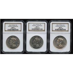 1950, 1951 & 1952 Silver Dollars