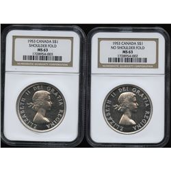1953 Silver Dollars - NGC Graded Lot of 2