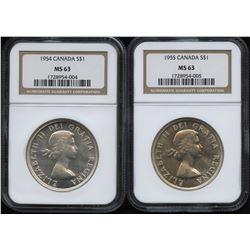 1954 & 1955 Silver Dollars - NGC Graded Lot of 2