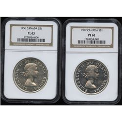1956 & 1957 PL Silver Dollars - NGC Graded Lot of 2