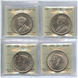 Canada Dollar Lot of 4 ICCS Graded Lot
