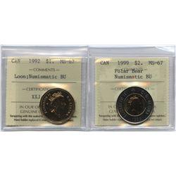 1992 Loon $1 & 1999 Polar Bear $2 ICCS Graded Lot of 2