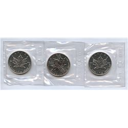 1989 Canada Silver Maple Leafs - Lot of 3