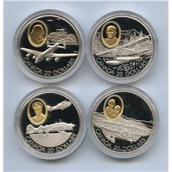Canadian Aviation $20 Sterling Silver Coins - Lot of 4
