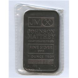 Vintage Johnson Matthey 1 ounce Troy King Koil Silver Bar