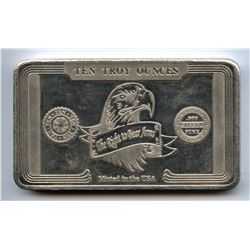 SCARCE! Ronald Reagan 10 Ten troy Oz 999 Silver Bar 2nd Amendment Right to Bear Arm