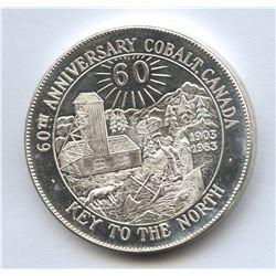 Canada 60th Anniversary of Cobalt Canada 1963 .999 Fine Silver Medallion