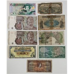 World Paper Money - Lot of 9 Notes